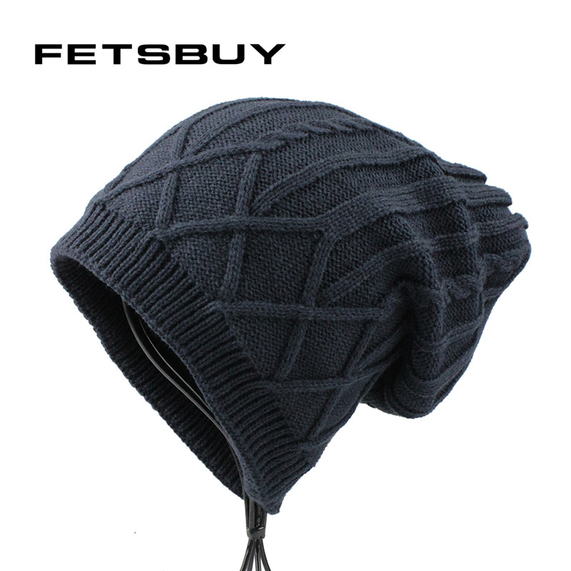 [FETSBUY] Winter Hats For Men Knitted Beanies Women Velvet Warm Bonnet Caps Boys Outdoors Unisex Chapeu Gorros Masculino 18012 sn su sk snowboard gorros winter ski hats skating caps skullies and beanies for men women hip hop caps knitting bonnet chapeu