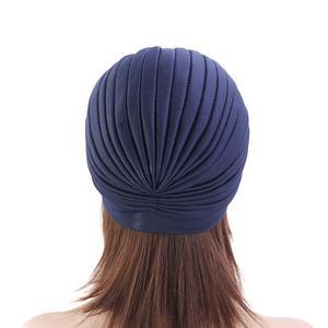 Image 4 - Women India Hat Women Muslim Islamic Elastic Turban Head Scarf Flower Beanie Hat Headwear Fashion Ruffle Turban Chemo Cap Pleate
