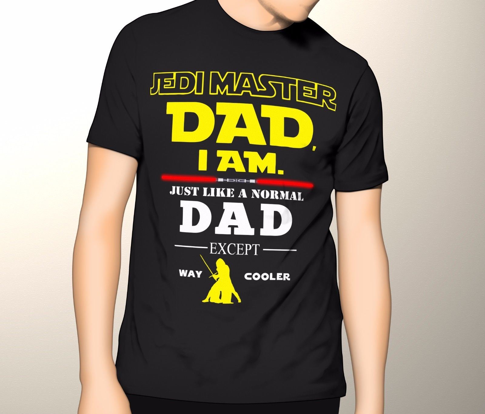 Jedi Master Dad Shirt, Star Wars Fathers Day Shirt, Premium Graphic T-Shirt T-Shirt Short Sleeve Mens