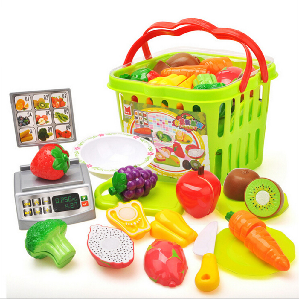 MINOCOOL Kids Children Classical Kitchen Toy Vegetables Fruit Cutting Plastic Pretend Set Pretend Food Toy Set Baby Kitchen Toy