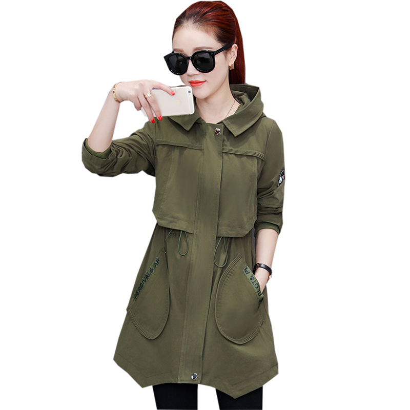 Spring Autumn Women   Trench   Coat Fashion Casual Hooded Medium Long Outwear Windbreaker Female Solid Color Trenchs Tops FP1462