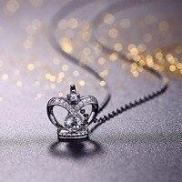 JO SABEDORIA Belas Crown Pingentes Colares de Jóias de Prata com CZ jóias Das Senhoras Traje Acessórios Jóias Pingentes