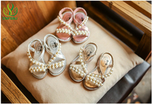2017 children summer season handmade woman pearl sandals child candy flat-bottomed princess sandals feminine bohemian type Rhinestones sandals
