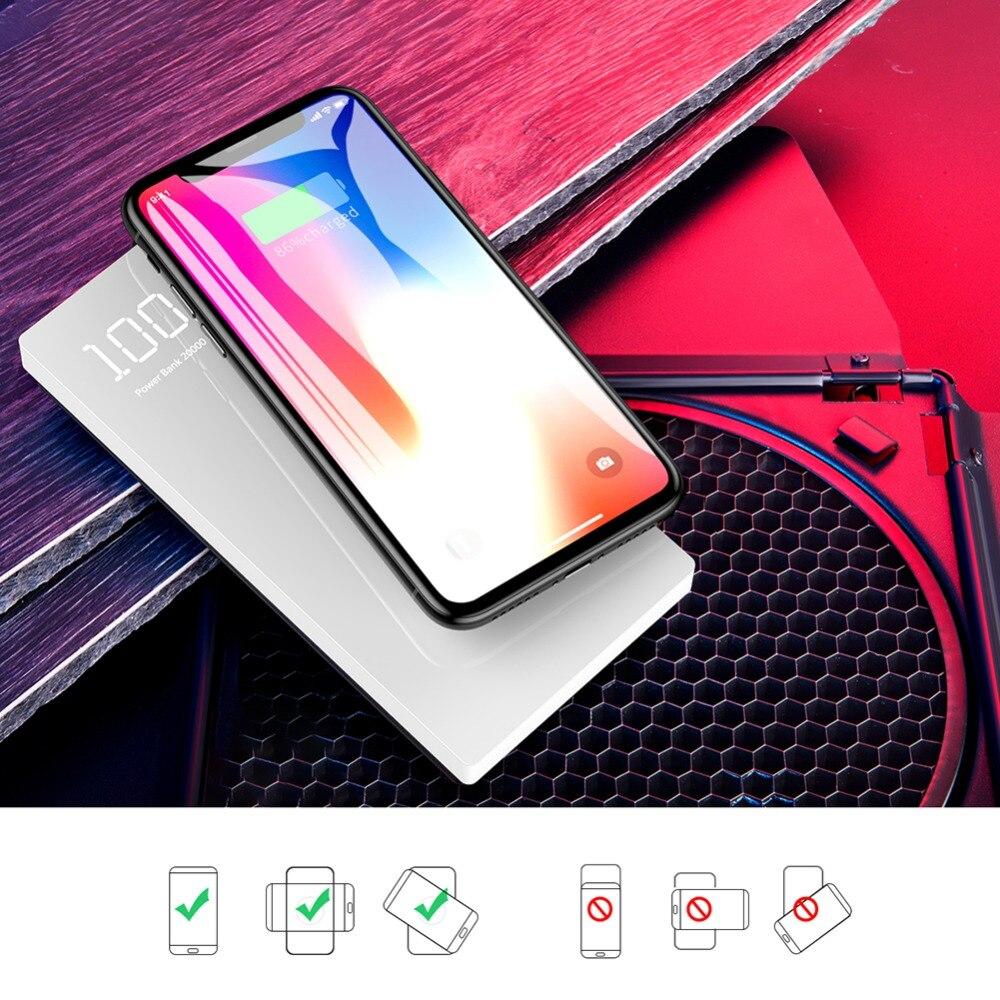 Puissance Banque 20000 mah Pour Xiao mi mi 2 Sans Fil Charge PowerBank Portable Chargeur Externe Batterie Pour l'iphone Samsung Pau banque - 4