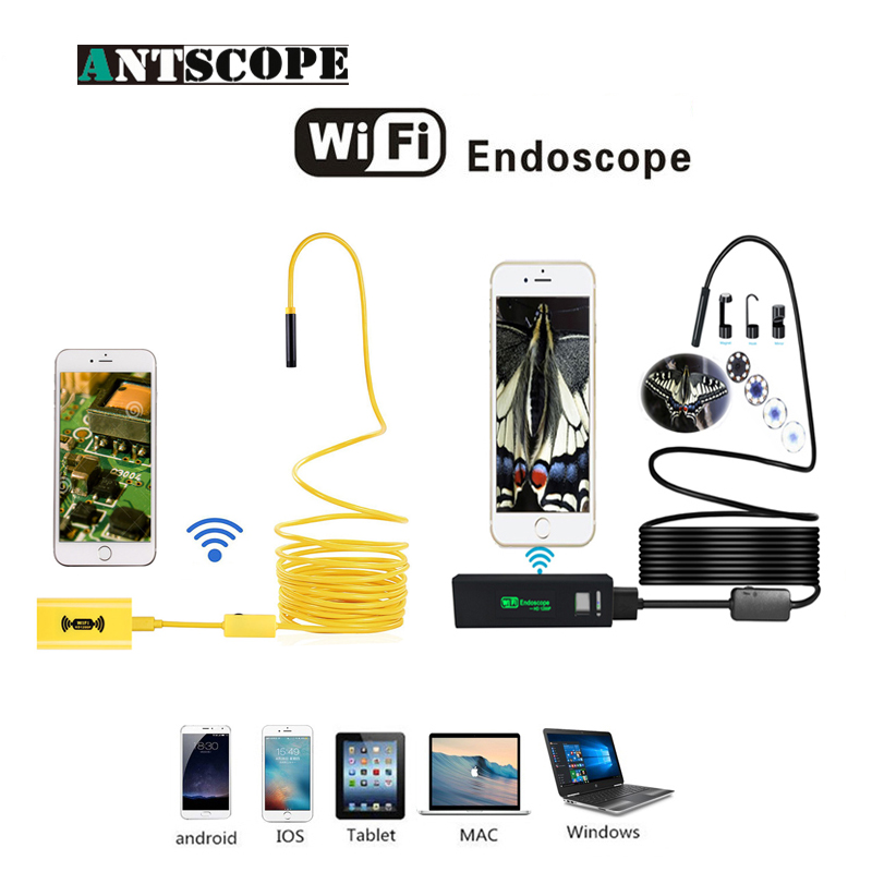 Antscope Wifi 8mm Endoscope 2/3.5/5/10M Yellow Hard Tube 1200P Android iOS Black Softwire Mini Camera Inspection Boroscopio 19 antscope wifi endoscope camera android 8mm 2 0mp 720p borescope mini camera semi rigid hard tube and softwire car inspection