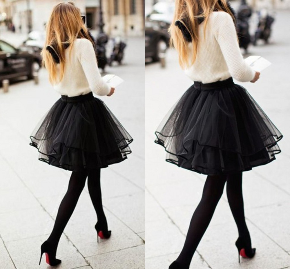 f87f632e0 Mini short Puffy Black tulle Skirt With Ruffles Fashion sexy tutu Elastic  waist Woman Midi skirt puls size 2017-in Skirts from Women's Clothing on ...