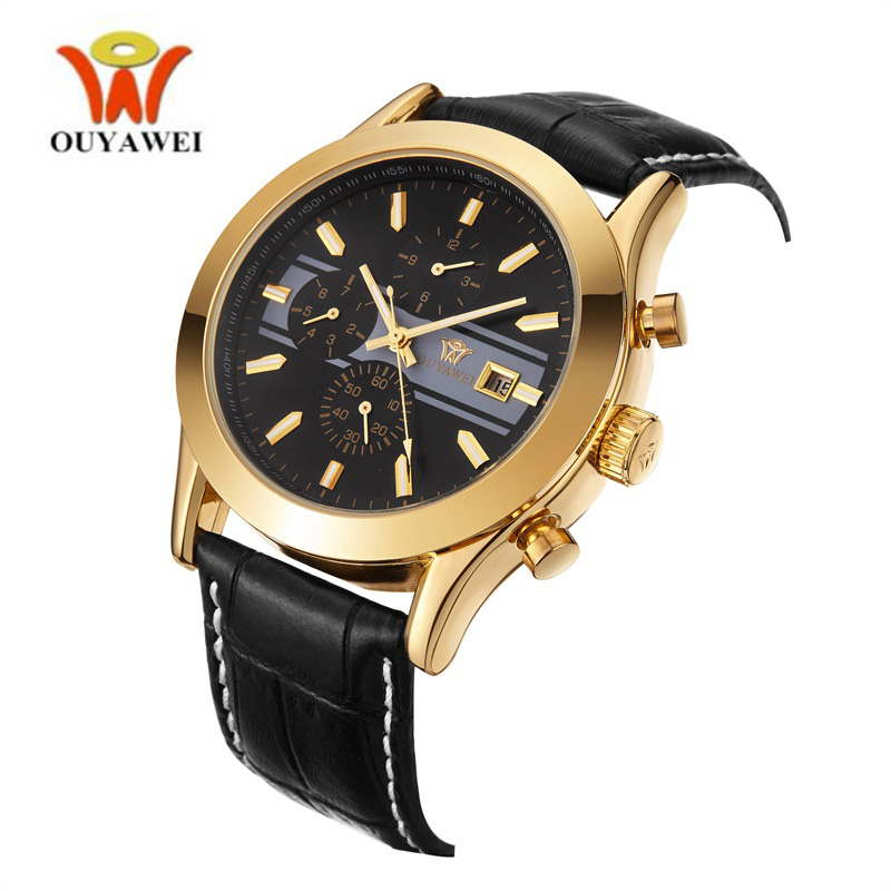Ouyawei Business Automatic Watches Men Luxury Brand Rose Gold Case Waterproof Leather Calendar Date Mechanical Watch Male Clock in Mechanical Watches from Watches