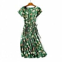 M 2XL Rayon Gardenia flowers romantic smooth dress cool breathable dress