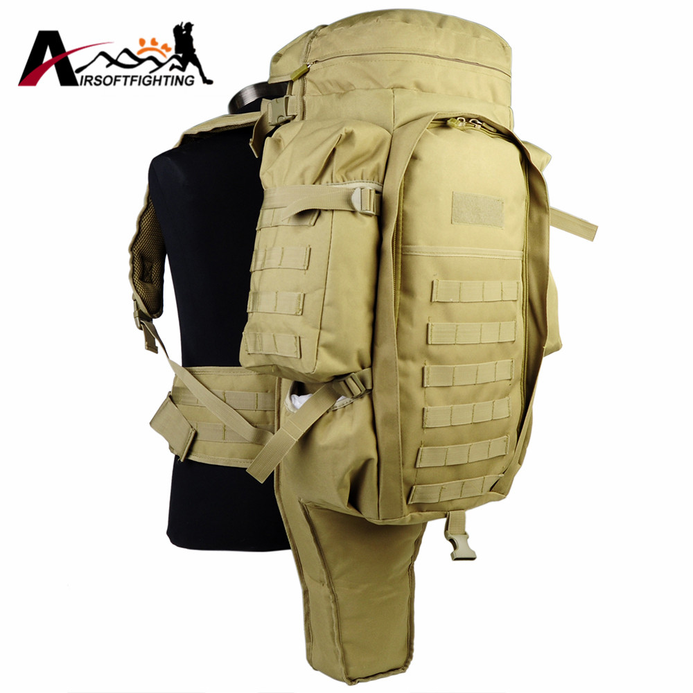 Tactical Molle Extended Full Gear Dual Rifle Gun Combo Backpack Airsoft Paintball Hunting Wargame Nylon Gun Bag Case Tan