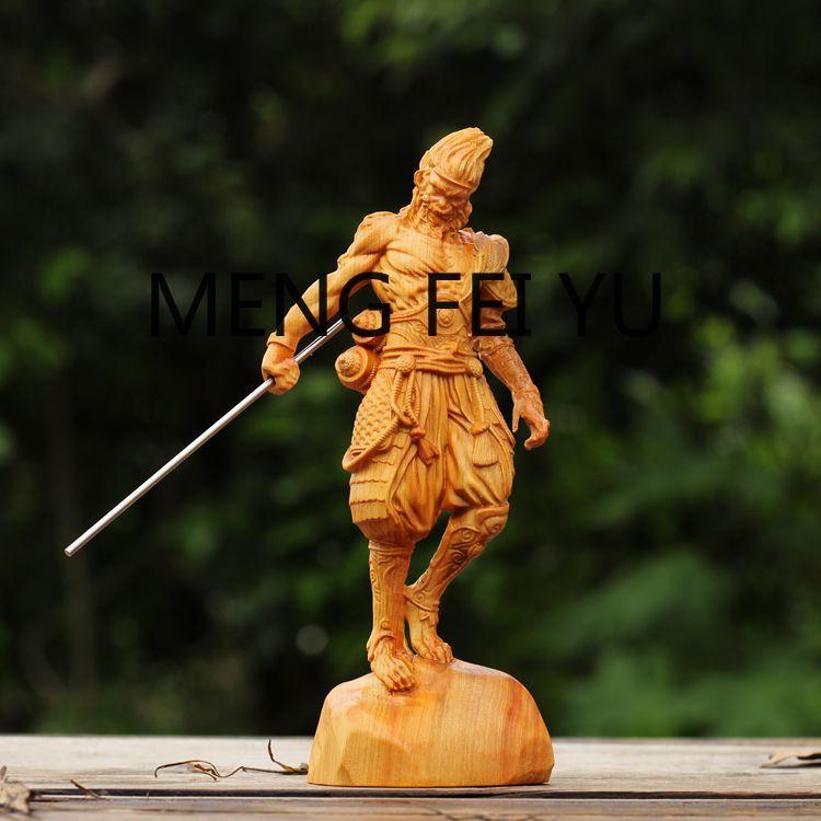 Falaise et cyprès sculpture en bois combat saint bouddha singe roi sculpture ornements créatifs artisanat ornements