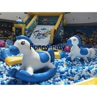 ПВХ надувная панда Качалка лошадь для взрослых надувной парк мультфильм воздушная качающаяся игрушка животное надувной Петух-лошадь