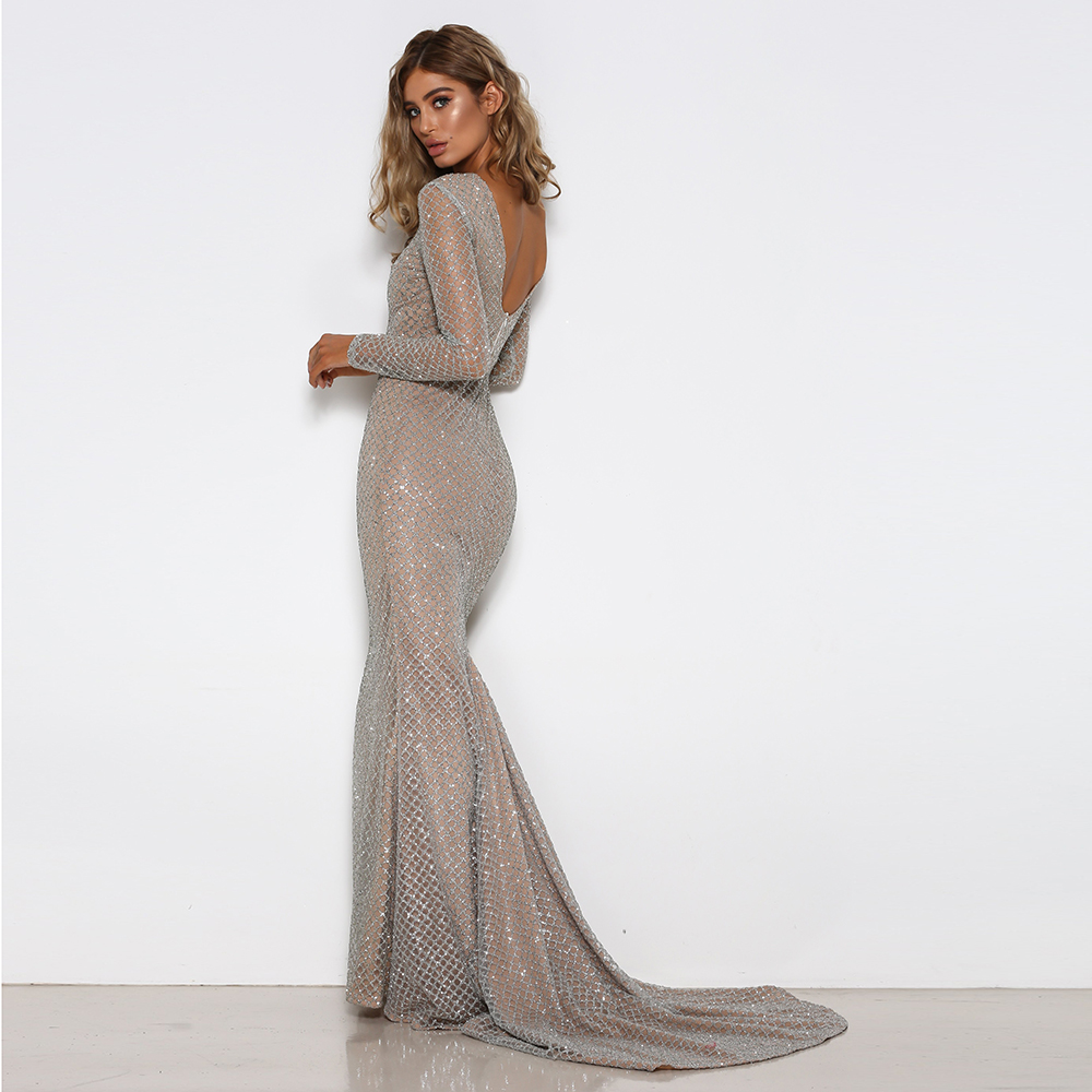 Backless Glitered Mermaid Maxi Dress Hollow Out Full Sleeved Bodycon Floor  Length Dress Sexy Elegant Evening Party Dress-in Dresses from Women s  Clothing on ... 9fb1b8c1a459