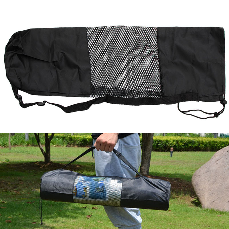 New Portable Yoga Pilates Mat Nylon Bag Carrier Mesh