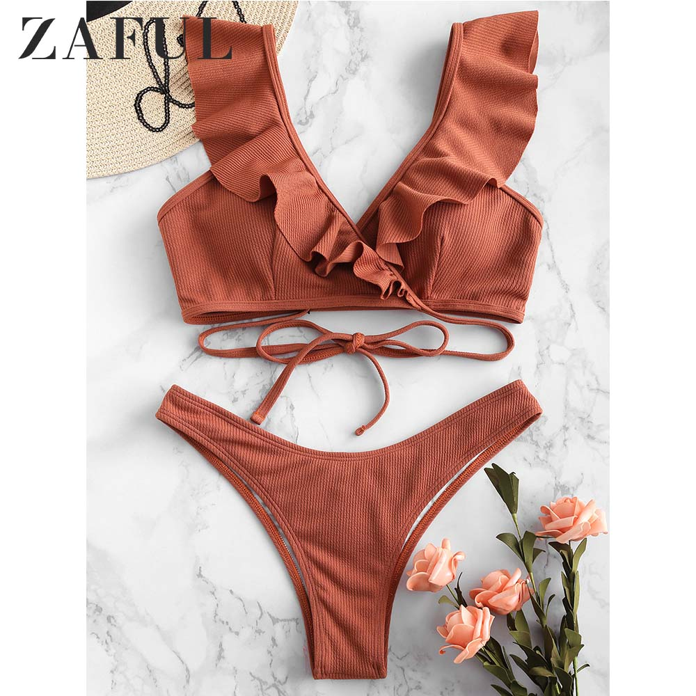 ZAFUL Ribbed Scrunch Butt Wrap Bikini Set Ruffle Plunging Wrap Swimsuit Push Up Low Waisted Women Swimwear Sexy Bathing Suit
