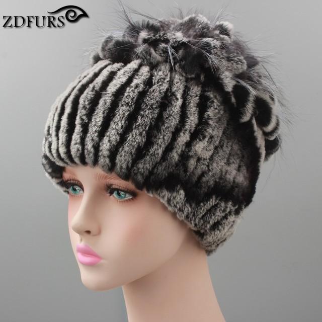 Gorros de inverno chapéu de pele para as mulheres de malha rex chapéu de pele de coelho com pele de raposa chapéu flor top das mulheres casuais