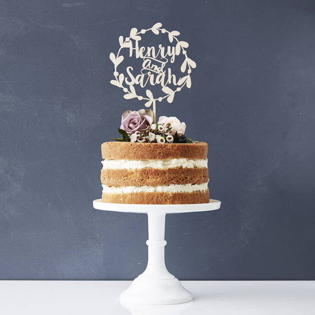 Rustic Personalized Wedding Cake Topper Custom Name Laurel Couples