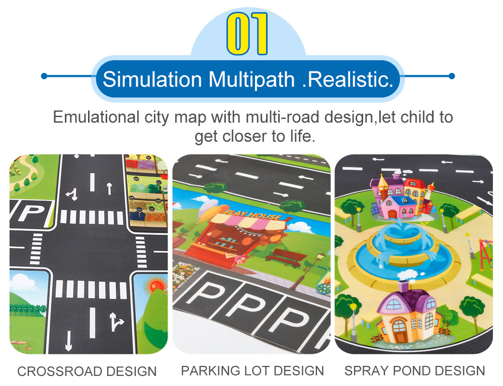 HTB1BpmVaCSD3KVjSZFKq6z10VXah 130*100cm Children's Traffic Car Play Pad Parking scene big map kids play maps Parent child toys boy girl kids toy game mat map