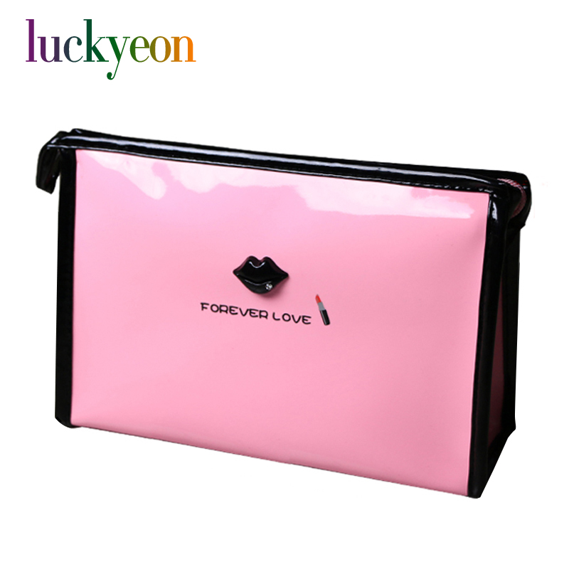 Custom PU Leather Makeup Bag Multifunction Forever Love Lip Ladies Cosmetic Case Pouch Zipper Travel Organizer Bag