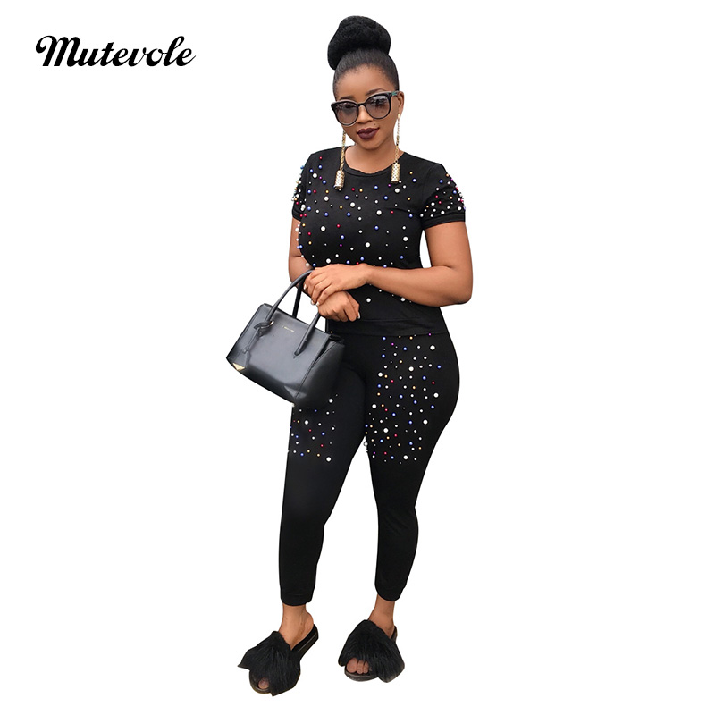 Mutevole Women Colorful Pearl Casual Two Piece Sets Beading Short Sleeve Top and Pants 2 Piece Set Pencil Trousers Set Outfits