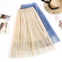 AcFirst Autumn Pink Blue Women Fashion Sexy Lace Skirts High Waist Preppy Style Pleated Mid-Calf Length Long
