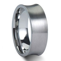 Tailor Made 8mm Brush Concave Tungsten Wedding Ring UK Size H Z4 Half