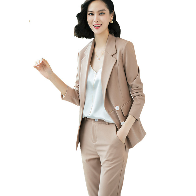 c3c4eaa5dfd8 high quality OL women pants suit 2019 New office work blazer suits of White  black blazers jackets with trouser two pieces set