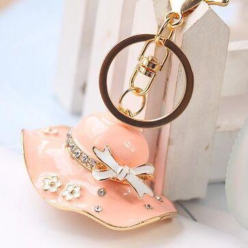 Fashion Accessories Rhinestone Crystal Pink summer font b hat b font Key Chains free shipping