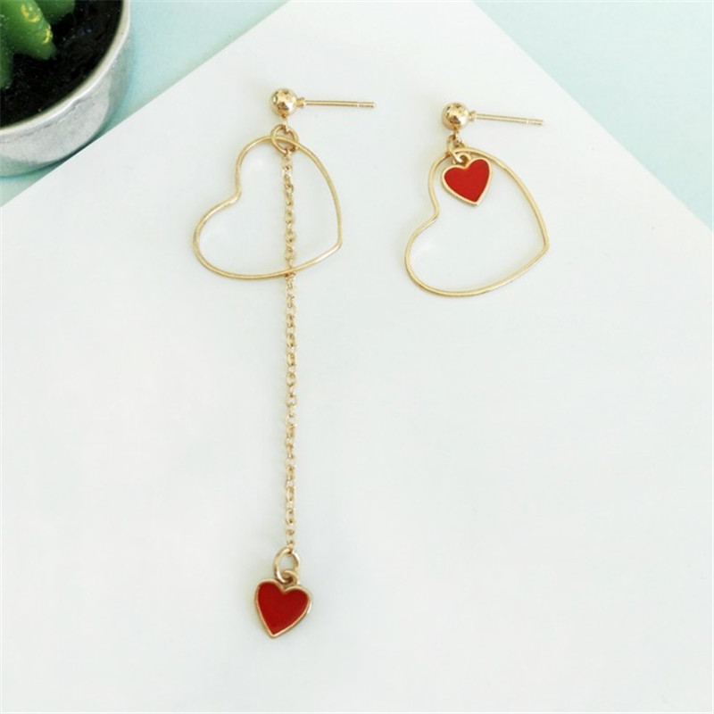 Fashion heart-shaped women jewelry stud earrings red heart asymmetric earrings for women fashion fine jewelry Earrings wholesale rhinestone heart shaped stud earrings page 4