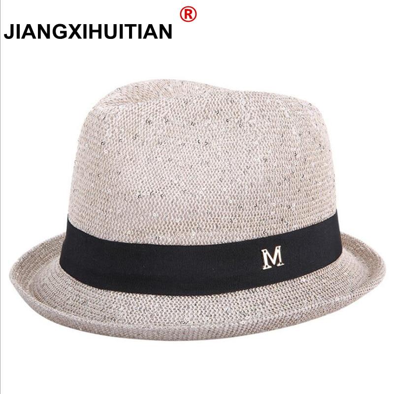 2018 Fashion Summer Straw Women Beach Sun Hats Trilby Girls Sequins Cap Sunhat Beach Sun Straw Panama Hat
