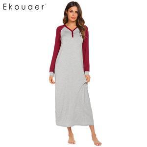 Image 2 - Ekouaer Lange Nacht Kleid Chemise Nachthemd Nachtwäsche Frauen Casual Langarm Patchwork V ausschnitt Sleep Nachtwäsche Plus Größe