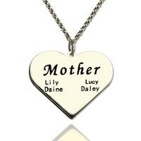 Toptan kazınmış isim kolye kalp şekli açmasının sarkık el damga gümüş takı için tabela hediye anne