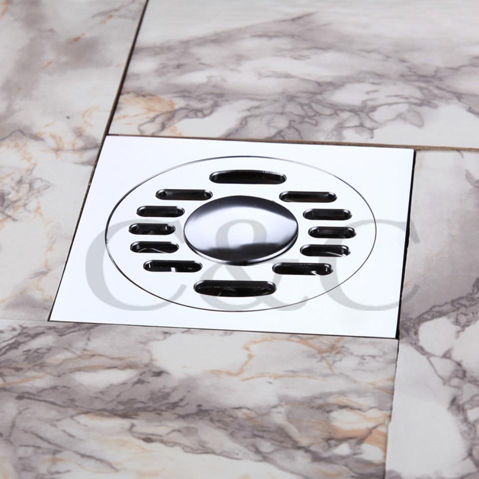 ФОТО Free Shipping Bathroom / Washing Machine Floor Drain Trap Balcony Brass Deodorant Square Strainer Cover Sink Grate Waste 9103