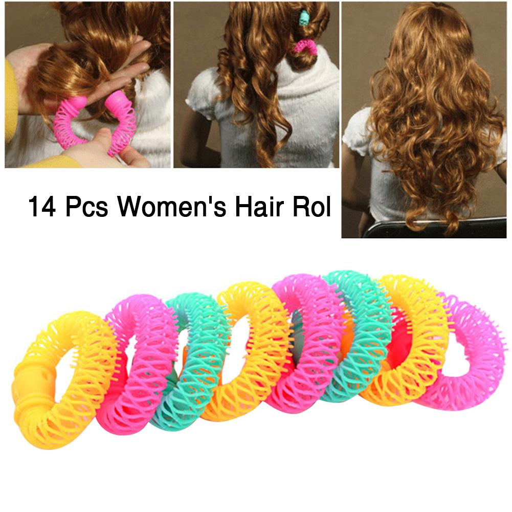 14PCS Magic Hair Curler Hair Styling Roller Curler Donuts Hairdress Spiral Curls DIY Tools Hair Styling Tool Hair Accessories