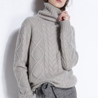 Turtleneck female twist sets cashmere sweater knitted backing joker long sleeved sweater with thick loose couple
