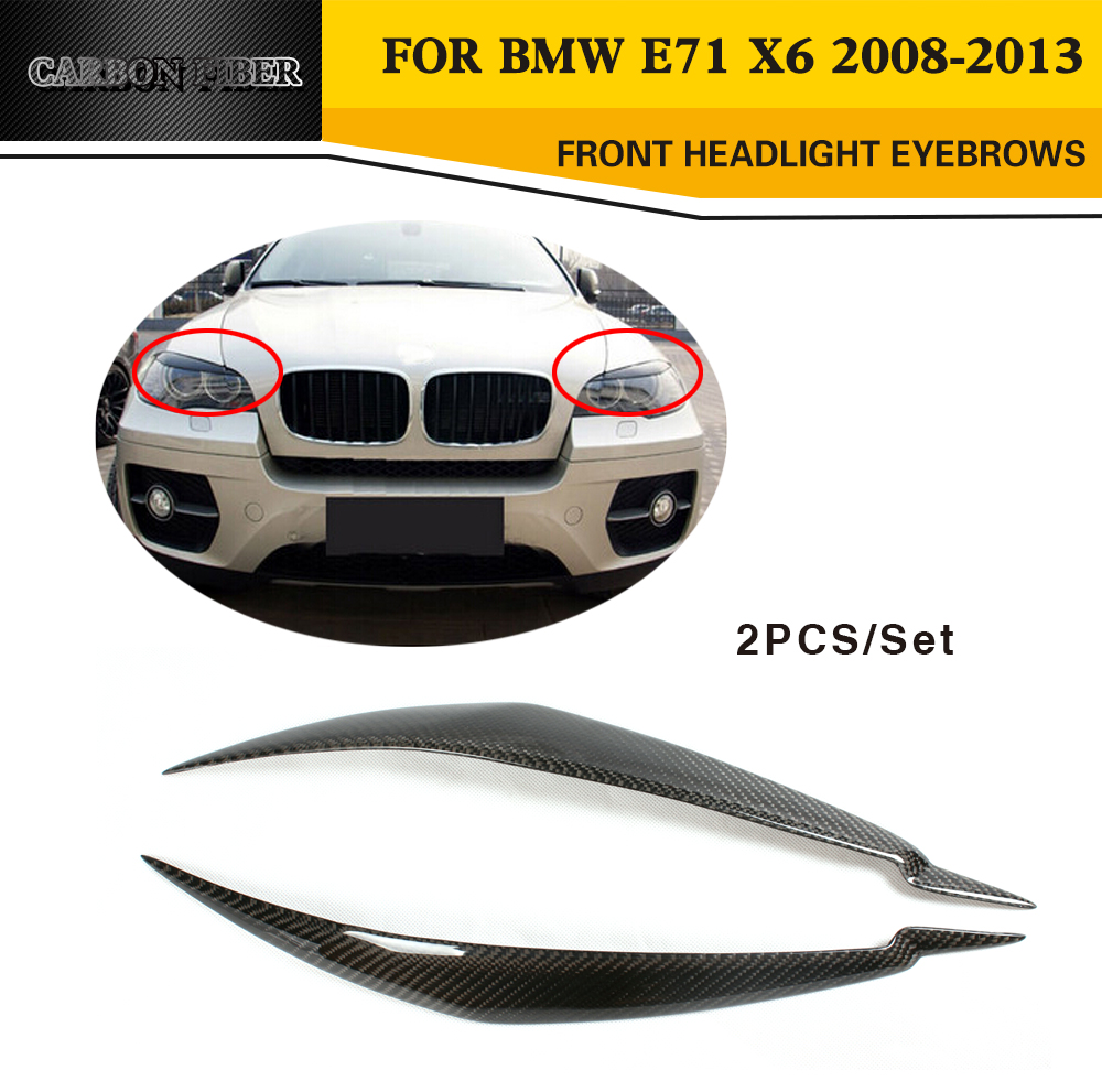 Carbon Fiber Car Front Headlight Eyelids Mask For BMW E71 X6 2008-2014 carbon fiber car rear bumper extension lip spoiler diffuser for bmw x6 e71 e72 2008 2014 xdrive 35i 50i black frp