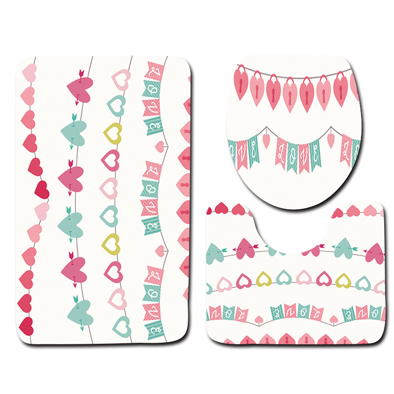 2018 New 3pcs Bathroom Mat Set Valentines Day Decoration Floor Mat for Bathroom Toilet Mat and Rugs