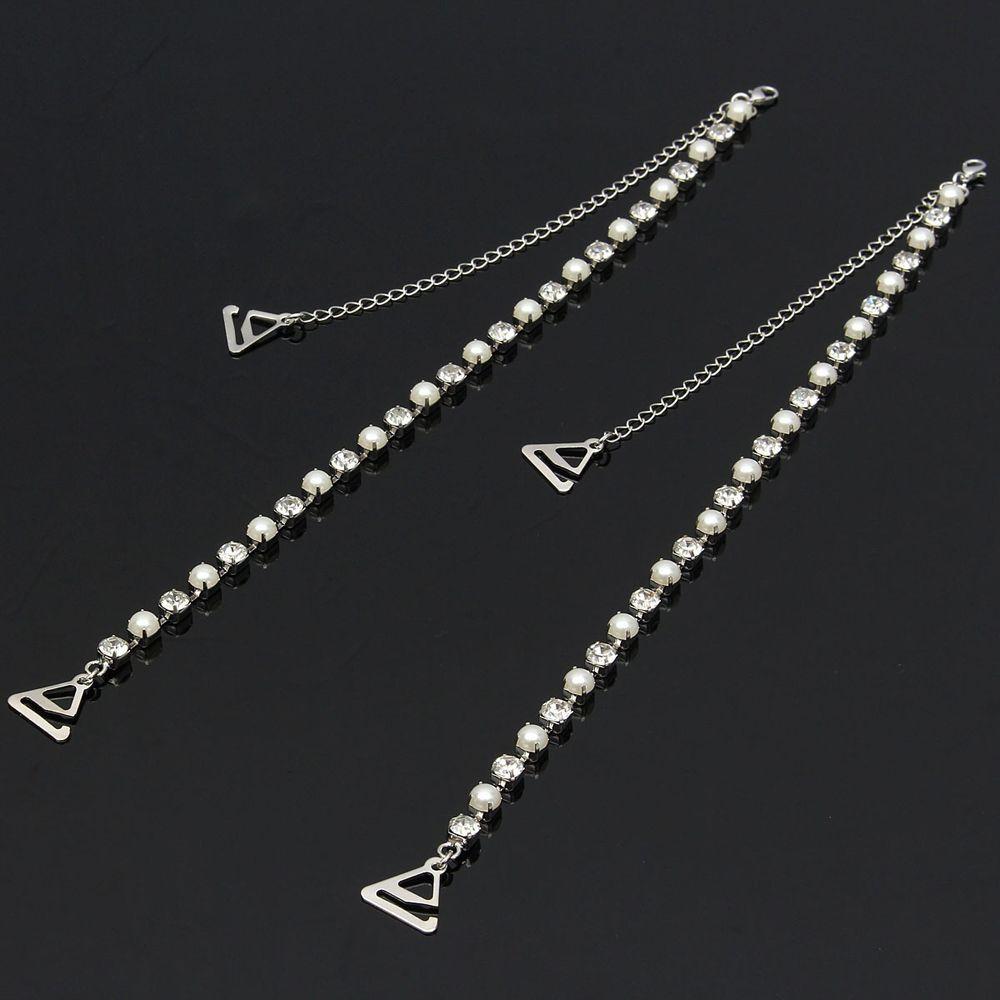 ddafc3b3f0 1 Pair Hot sale Women Rhinestone Detachable Bra Straps Single Row Clear  Crystal Pearl Sex Chain tirantes sujetador-in intimates  accessories from  Underwear ...