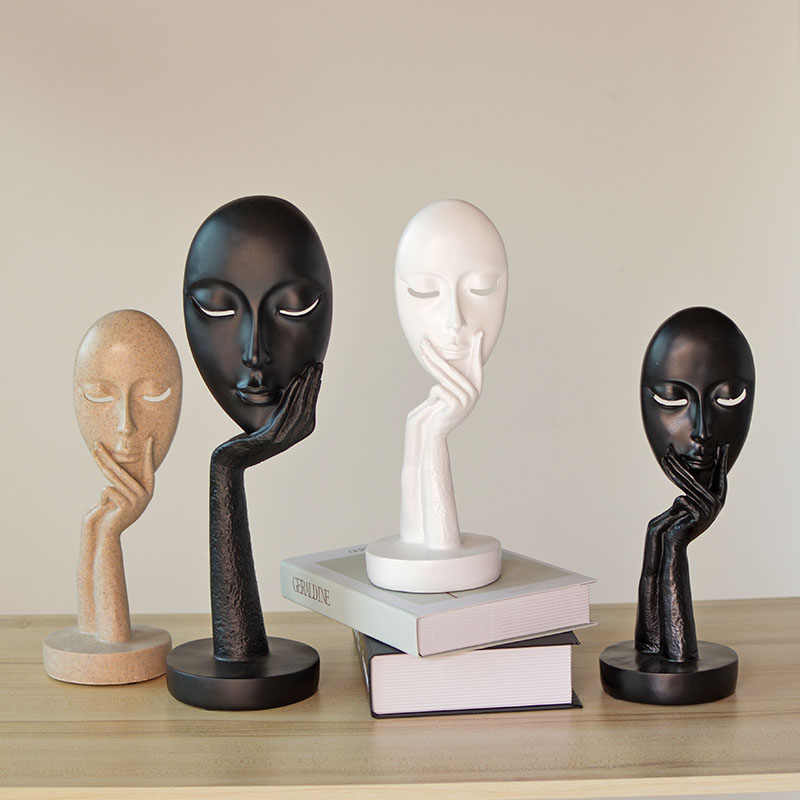Abstract Sculpture Figurine Resin Ornaments Silence Gold Office Home Decoration Accessories Modern Art Resin Decoration A $