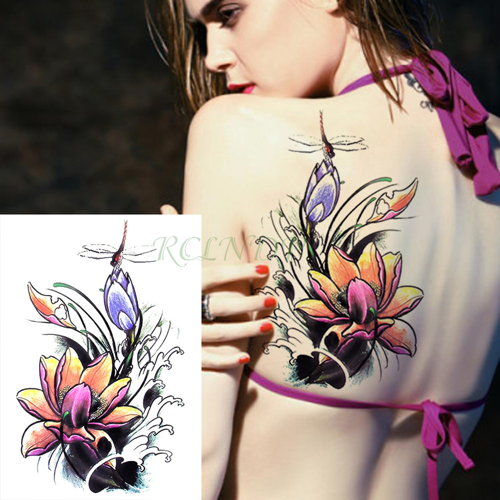 Us 149 Waterproof Temporary Tattoo Sticker Dragonfly Lotus Flower Fake Tatto Flash Tatoo Tatouage Temporaire Hand Foot For Girl Women In Temporary