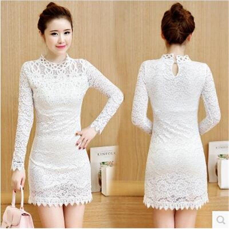 b955bc1dcdf2 2017 giovane abbigliamento donna autunno dress fashion new dress dell anca  del pacchetto delle donne corea del sud a maniche lunghe in pizzo slim dress  b098 ...