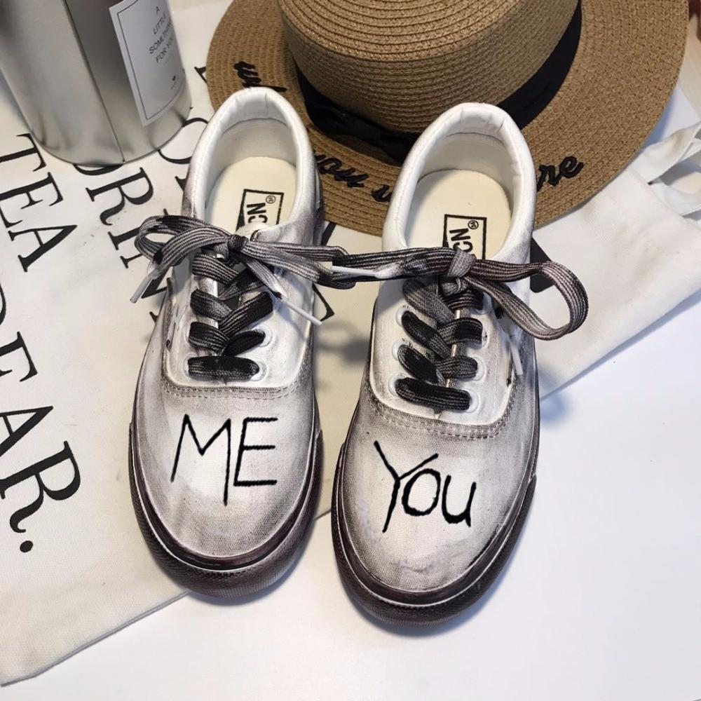 Main Vieux Corée Le Peint Blanc Ulzzang Faire Quan Zhilong Sales 2 Chaussures Harajuku Étudiant 1 Plat Rétro La Toile À 0qxFRqCga