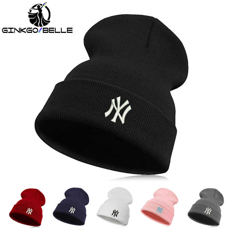 221c631fa4a Embroidery Unisex Casual Letter New York knitted Warm Hiphop Beanie Hat  Skullies Winter Fashion Hats for