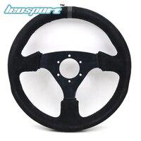 13 330mm Steering Wheel Suede Leather Black Sutures Steering Wheel Flat Racing Steering Wheel
