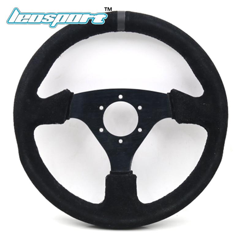 13 (330mm) Steering Wheel Suede Leather black Sutures Steering Wheel Flat Racing Steering Wheel