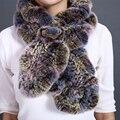 Real Rex Fur Scarf For Women Winter Neck Fur Collar Scarves Ruffled Warm Fashion Accessories Gift Female Rex Fur Scarf