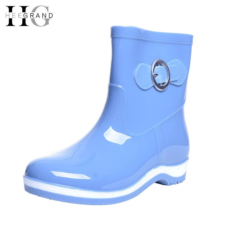 где купить HEE GRAND Rain Boots Rubber Women Ankle Boots Casual Platform Shoes Woman Warm Flats Women Shoes Size 36-40 XWX4497 по лучшей цене
