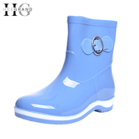 HEE GRAND Winter Rain Boots Rubber Women Ankle Boots Casual Platform Shoes Woman Warm Flats Women