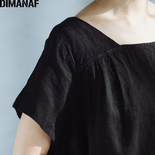 DIMANAF Women Summer Dress Plus Size Linen Vintage Black Female Vestidos Casual Clothing Loose Oversize 2018 Sundress Long Dress 5