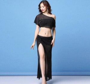 Image 5 - Traje de danza del vientre transparente para mujer, Falda larga de 2 piezas, ropa de práctica de bailarina, Ropa de baile de equipo, ropa de Baile Oriental