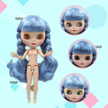 цена Blygirl Blyth doll Blue-purple mixed bangs curly hair 19 joint body doll frosted face shell nude doll can dress her